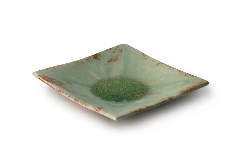 緑伊良保 正角皿 14.5cm
