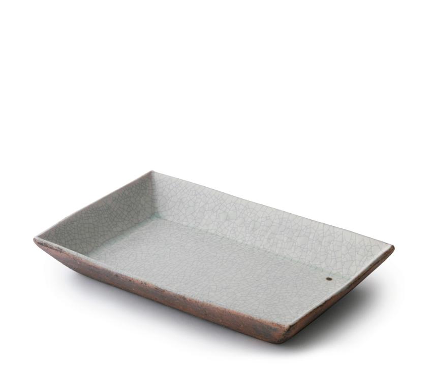 泥ビードロ 長角皿 21.5cm