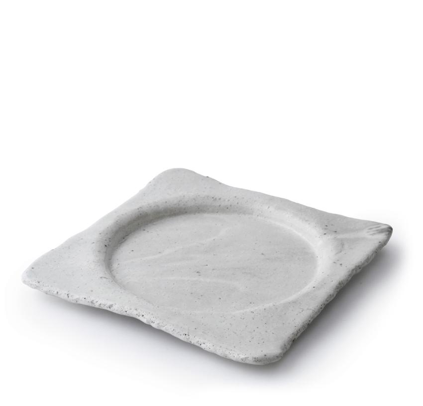 白萩 正角丸皿 21.0cm × 21.0cm