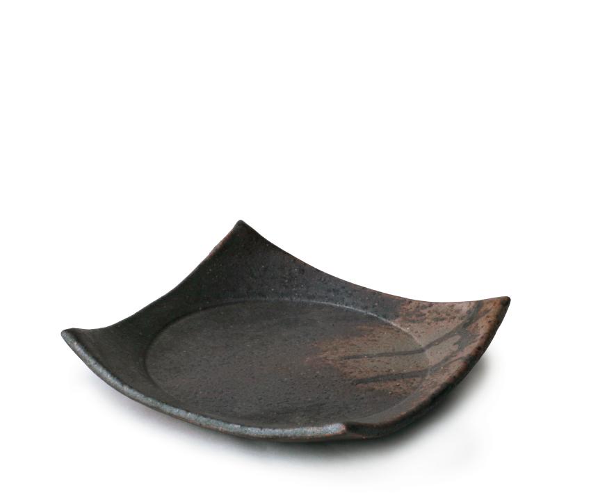 黒灰 正角皿 16.0cm