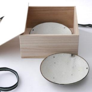 鉄巻粉引 取皿 2枚セット
