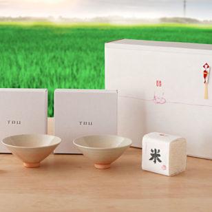 夫婦茶碗と奉納米のギフトセット